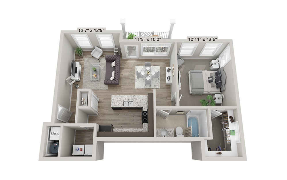 Paisley - 1 bedroom floorplan layout with 1 bath and 745 square feet (1st floor 2D)