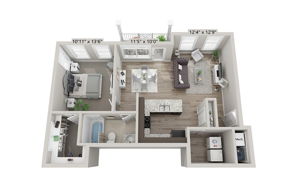 Willow - 1 bedroom floorplan layout with 1 bath and 752 square feet (1st floor 2D)