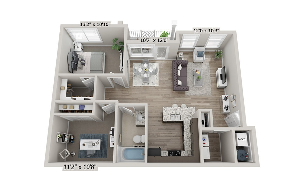 Dixie - 1 bedroom floorplan layout with 1 bath and 861 square feet (1st floor 2D)