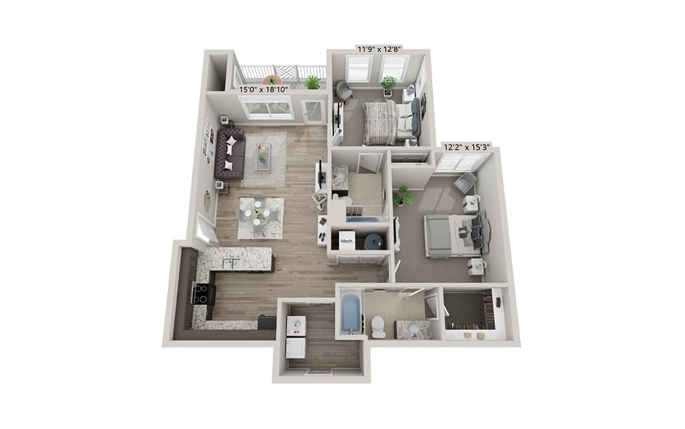 Weston (Attached Garage) - 2 bedroom floorplan layout with 2 bath and 1067 square feet (1st floor 2D)