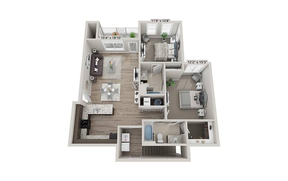 Emerson - 2 bedroom floorplan layout with 2 bath and 1095 square feet (1st floor 2D)