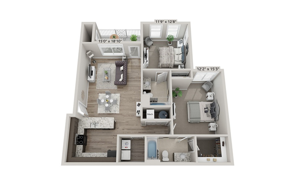 Madison - 2 bedroom floorplan layout with 2 bath and 1034 square feet (1st floor 2D)