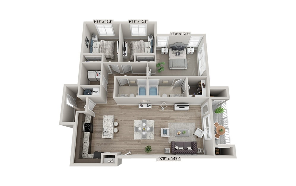 Montgomery (Attached Garage) - 3 bedroom floorplan layout with 2 bath and 1287 square feet (1st floor 2D)