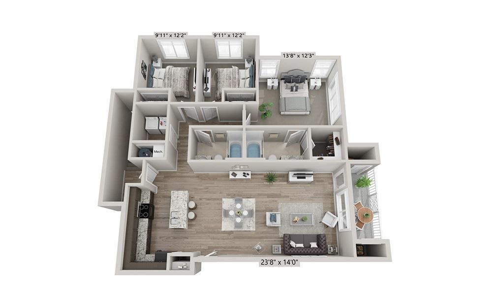 Charleston - 3 bedroom floorplan layout with 2 bath and 1312 square feet (1st floor 2D)