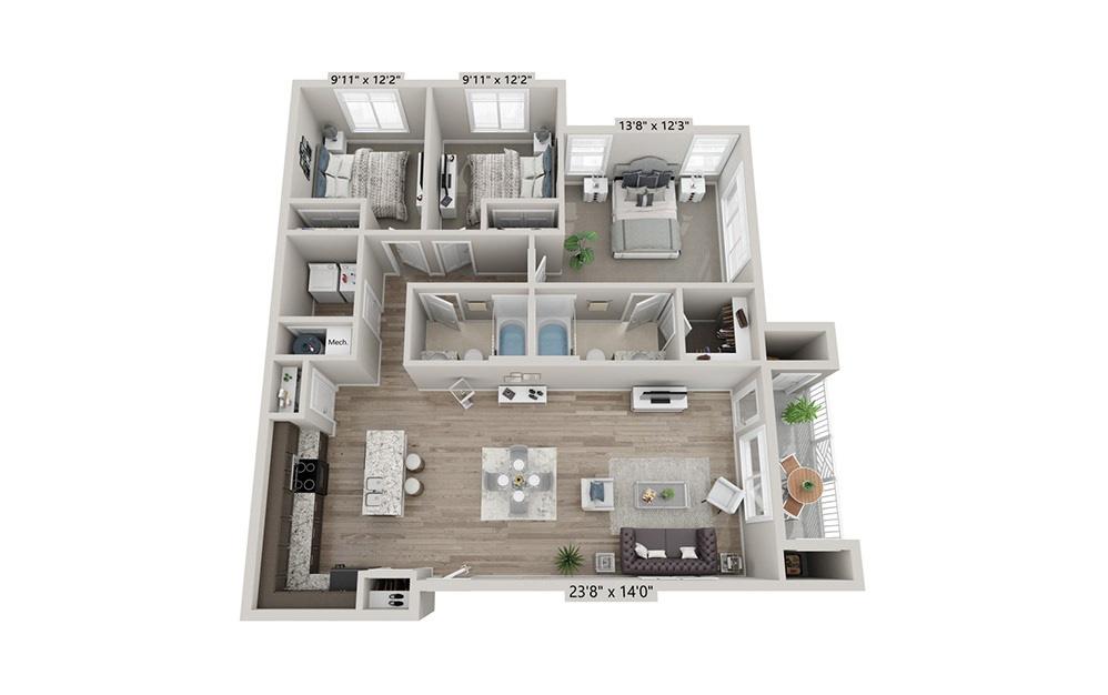 Savannah - 3 bedroom floorplan layout with 2 bath and 1252 square feet (1st floor 2D)